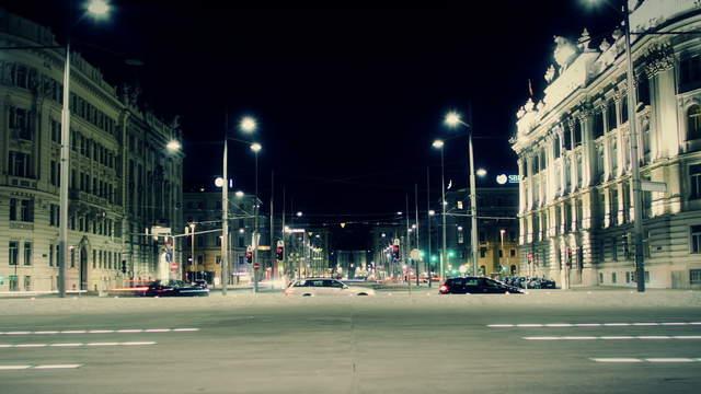 Zeitraffer Video Schwarzenbergplatz Wien Verkehr Nacht